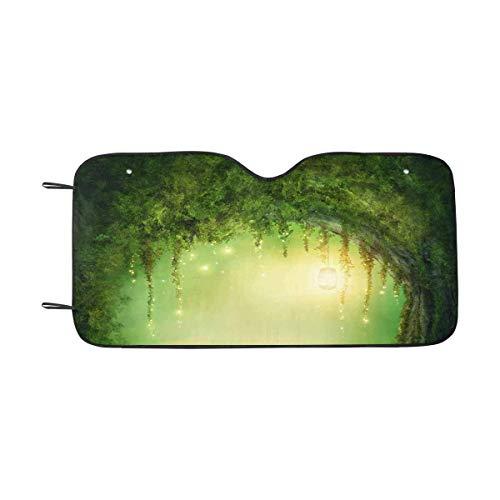 LLZQJ-DAA betoverd donker bos en lichten windscherm zonneschermen, auto zon schaduw blok zon UV en warmte, universele pasvorm M Meerkleurig