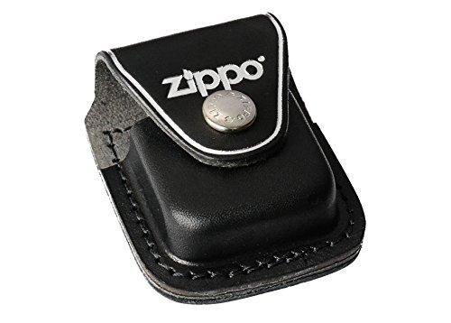 Zippo Ledertasche schwarz Pouch Black with Clip Feuerzeug, Chrom, 5.8 x 3.8 x 1.8 cm