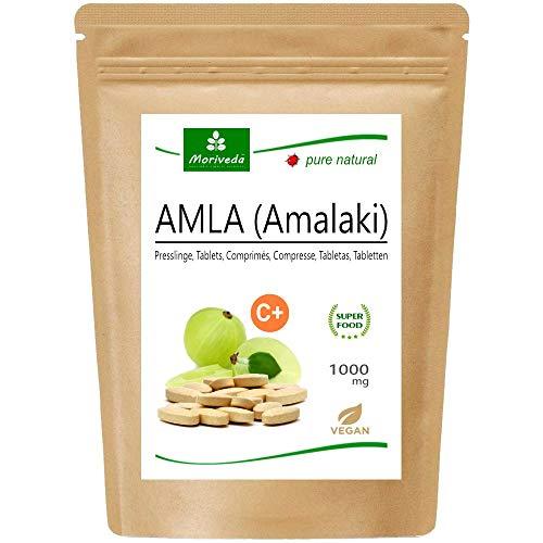 MoriVeda® - Amla 1000mg (60 o 180 compresse) - Prodotto naturale al 100% con vitamina C, cromo, minerali, proteine e vitamine del gruppo B. Sistema immunitario, antiossidante (1x60 Compresse)