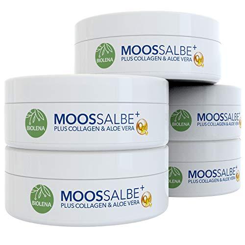 Biolena Moossalbe Plus – Mooscreme gegen Falten (5 Tiegel je 100 ml) – Moossalbe Gesicht Falten Antifaltencreme Soforteffekt Moos Salbe