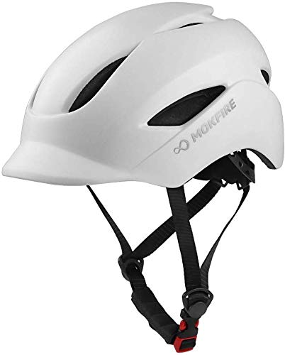 MOKFIRE Adult Bike Helmet That's Light, Cool & Sleek, Bicycle Cycling Helmet with Rear Light for Urban Commuter Adjustable Size for Adults Men/Women - White