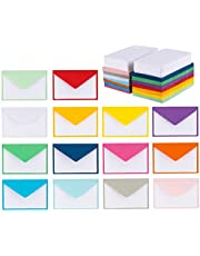 "140 Mini Envelopes with White Blank Note Cards, Mini Envelopes 4""x 2.7"" for Business Cards, Gift Cards (Assorted Colors)"