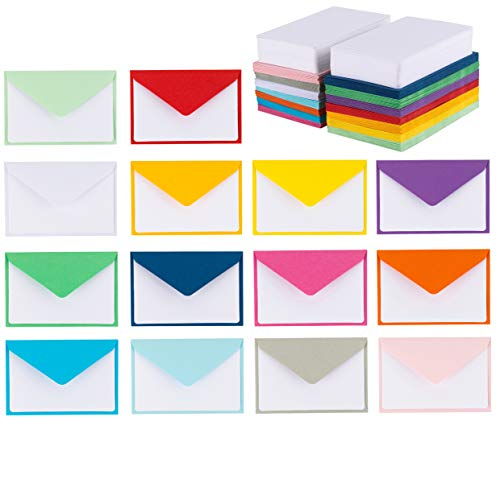 140 Mini Envelopes With White Blank Note Cards, Mini Envelopes 4 x 2.7  For Business Cards, Gift Cards (Assorted Colors)