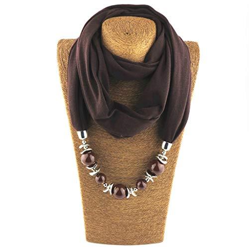 Dabixx para Mujer pañuelo para el Cuello Bufanda Collares Cuentas de Color sólido joyería Chal 8#