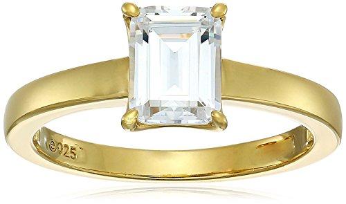 Amazon Collection Mujer plata de ley 925 platino-bañado-plata emerald-shape; zirconia cúbica, dorado, 6