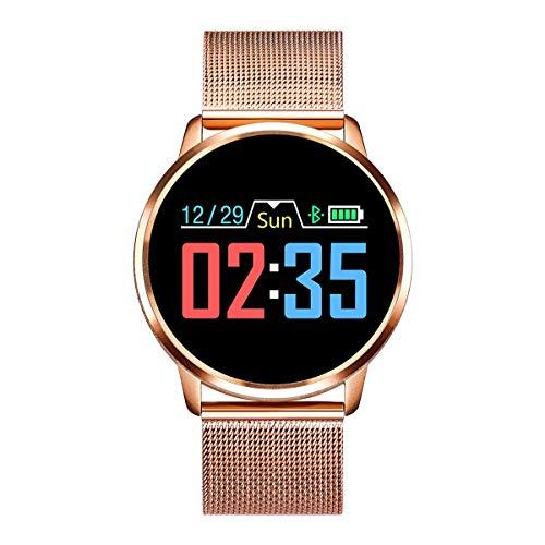 Rundoing Smart Watch OLED Farbdisplay Smartwatch Herren Damen Fitness Tracker Pulsmesser für APP H Band, Gold Steel Strap