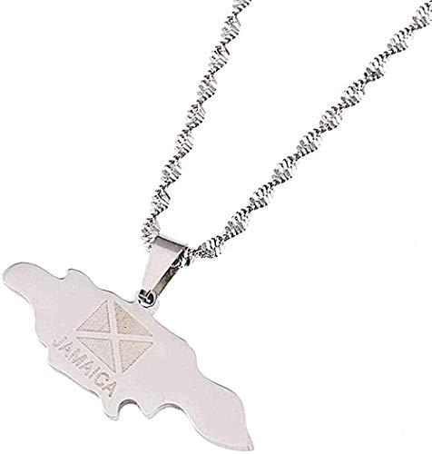 WYDSFWL Collares Collar de Moda de Acero Inoxidable con Mapa de Jamaica Collares en joyería de Cadena chapada en T