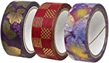 カミイソ 日本製 和紙 マスキングテープ kimono美 3巻 (辻が花B 市松 葡萄) セット 幅15mm×7m巻 和柄 デザインテープ リメイク アレンジ GR-0510