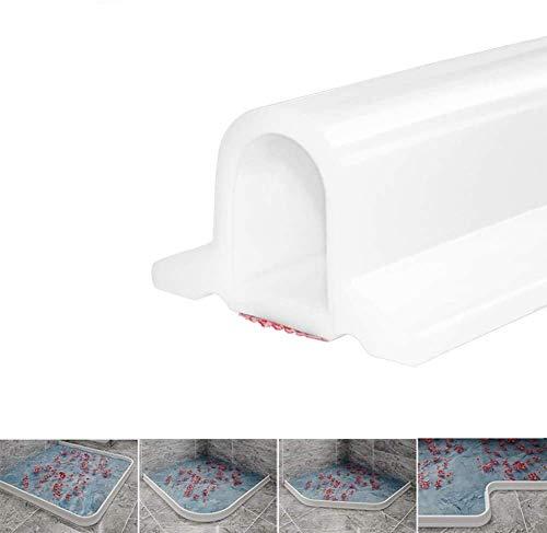 Zusammenklappbarer Duschschwellen-Wasserdamm, ideal für rollstuhlgerechte, barrierefreie Duschen, Dusche Bad Boden Dichtung Wasserdamm Duschschwelle Barriere-Wasserstopper (Weiß,100 cm)