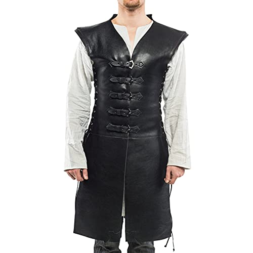 winying Herren Wetlook Weste Lack Leder Tank Top Vintage Retro Trachten Lederweste Steampunk Gehrock Party Outfits Clubwear Schwarz L