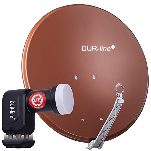 DUR-line 4 Teilnehmer Set - Qualitäts-Alu-Satelliten-Komplettanlage - Select 75cm/80cm Spiegel/Schüssel Rot + Quad LNB - für 4 Receiver/TV [Neuste Technik, DVB-S2, 4K, 3D]