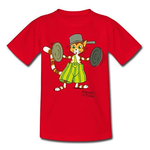 Pettersson Und Findus Topfdeckel Schlagzeug Kinder T-Shirt, 110-116, Rot