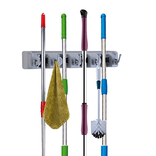 Broom Organizer Mop Holder Wall Mount with Hook and Gripper Slot, Space-Saving Duster Hanger Non-Slip Never Fall Off (4 Slots 5 Hooks)