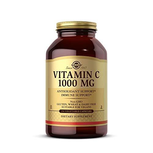 Solgar Vitamina C 100 Mg, Luminosidad y Tonificación de Piel, Reduce El Cansancio, Apto para Veganos, Cápsulas Vegetales, 250 Unidad