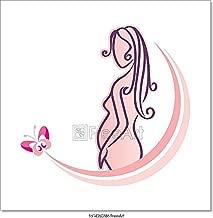 Barewalls Pregnant Woman Pink Paper Print Wall Art (8in. x 8in.)