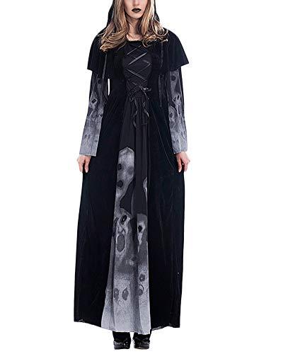 YAOTT Vampiresa Sacerdotisa Disfraz De Cosplay Mujer Largo Terciopelo Vestido Negro S