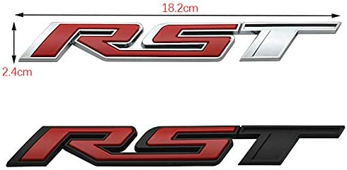 Pair Set RST Tailgate Emblem Badge Letter Inserts Replacement For 2019 2020 2021 Chevy Silverado Chevrolet 150Tahoe Yukon SUV 4x4 Black Red