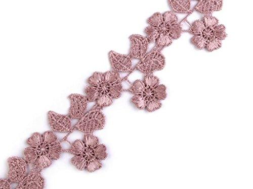 1m ÄtzSpitze Spachtelspitze Spitzen-Borte Blüten Blumen Guipure Zierband Vintage Shabby 45mm breit Farbe: Altrosa 945
