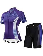X-Labor Maillot de ciclismo para mujer de secado rápido, camiseta de manga corta + pantalones cortos con acolchado 3D para el asiento