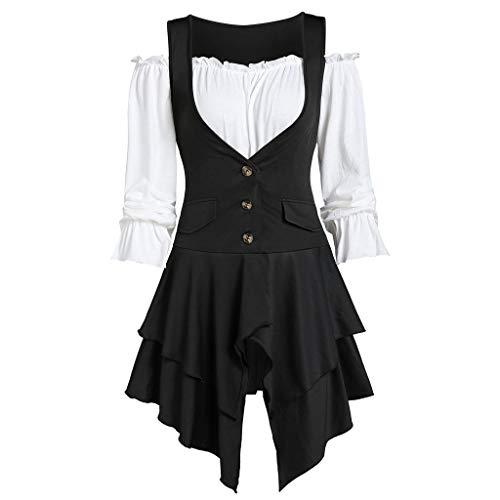Women Plus Size Coat Blouse Button Two-Piece Set Pocket Tank Long Sleeve Top Black