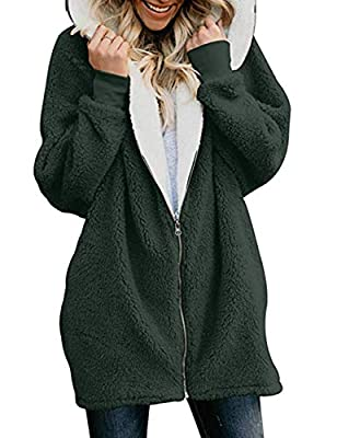 MuCoo Women's Fashion Long Sleeve Zip Up Oversized Open Front Hooded Pockets Fleece Cardigan Coats Green 3XL from