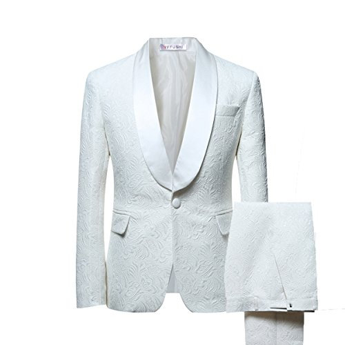 YFFUSHI Mens 1 Button 2 Piece White Tuxedo Shawl Collar Skinny Dress,Beige,XX-Large