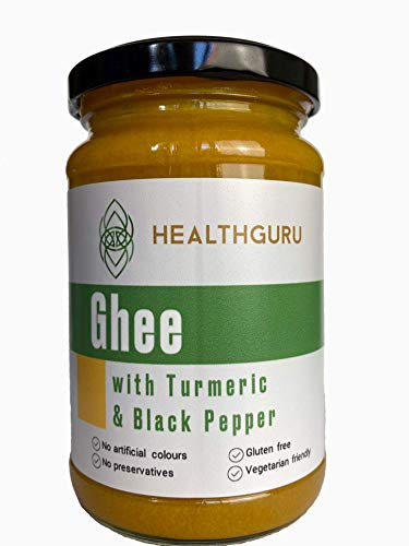 Health Guru Golden Ghee with Turmeric and Black Pepper | Grass fed Farms | No Colours | No Preservatives | High in Vitamin A+D | Gluten Free | Approved by The Vegetarian Society | U.K. Product