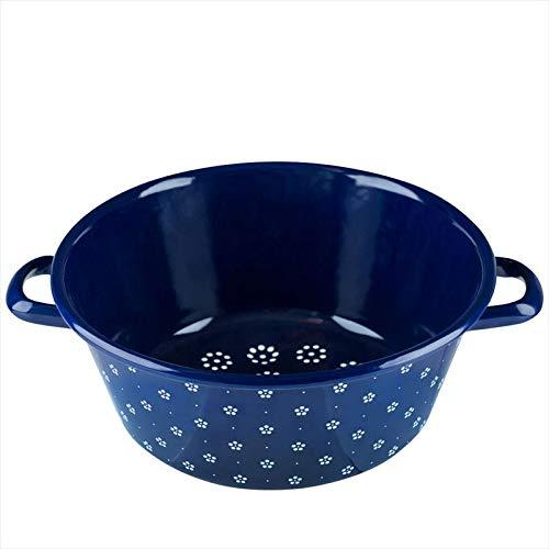 Riess, 0328-073, Gemüsesieb 26, COUNTRY - DIRNDL, Durchmesser 26 cm, Höhe 11,5 cm, Emaille, blümchenblau, blau/weiß