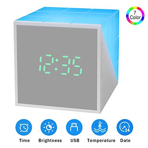 2020 New Kinderwecker Jungen, Kinder wecker Cube Wake Up Kinderwecker Creative Nachttischlampe Snooze-Funktion, zeitgesteuertes Nachtlicht, Kindertagesgeschenk Lichtwecker für Kinder, Mädchen (Grau)