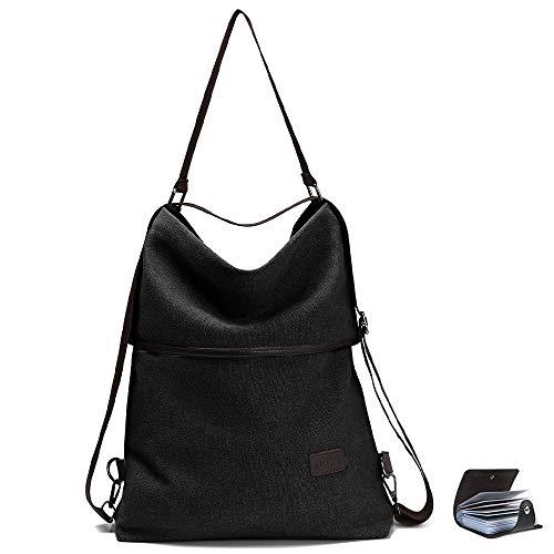 URAQT Canvas Rucksack Damen, Schultertasche Vintage, Multifunktionale Umhängetaschen, Casual Handtasche, Hobo Tasche für Alltag Büro Schule Ausflug Einkauf - Schwarz