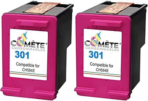 COMETE 301 - Lote de cartuchos de tinta compatibles con HP 301 CH562EE para impresora HP Officejet Envy Deskjet (2 colores)