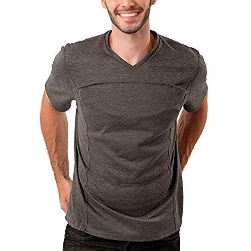 Ypnrd Männer Multifunktions Känguru Papa Kleidung Babytrage T-Shirt,XXXL