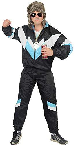 jaren '80 trainingspak kostuum voor mannen - zwart wit babyblauw - maat S-XXXXL - Joggingbroek Assi, maat:XL