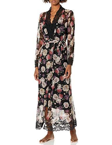 Emporio Armani Damen Daily Charme Kimono Robe Bademantel, Schwarze Blumen, Medium