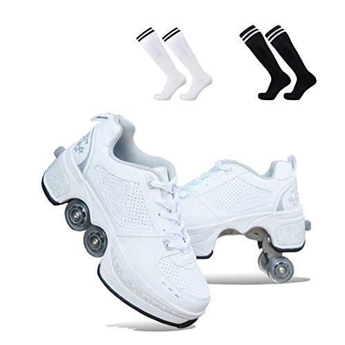ZXSZX 2-in-1 Mehrzweck-Rollschuhe 4-Rad-verstellbare Rollschuhe Skateschuhe Für Frauen Männer, Radschuhe Rollschuhschuhe, Für Unisex-Anfänger Geschenk,White-39
