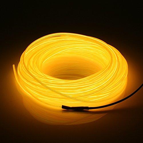 MASUNN 20M El LED Flexible Tube Souple Fil Neon Glow Voiture Corde Bande Lumière Décor Noël DC 12V-Jaune
