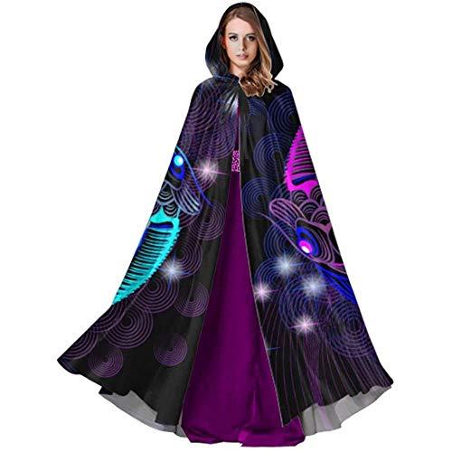 Zome Lag Vampir kostuum, pet met capuchon, hekmagische omhanging, volwassenen luxe omhanging, blauwe en paarse karpers yin yang vorm cape mantel heren S capuchon mantel