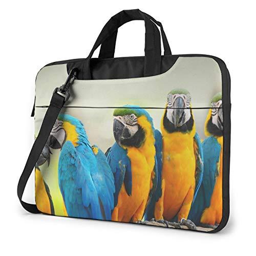 Bolsa de hombro para portátil – verde azulado gris rosa impresa a prueba de golpes impermeable portátil bolso mochila bolso bolso maletín, Lindos loros (Azul) - 259841
