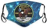 Bandanas Apollo 11 50 aniversario ajustable earloop cara anti polvo cara boca boca con filtro y clip para la nariz para hombres y mujeres negro -mediano
