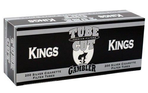 Gambler Tube Cut Silver King Size RYO Cigarette Tubes 200ct Box (5 Boxes)