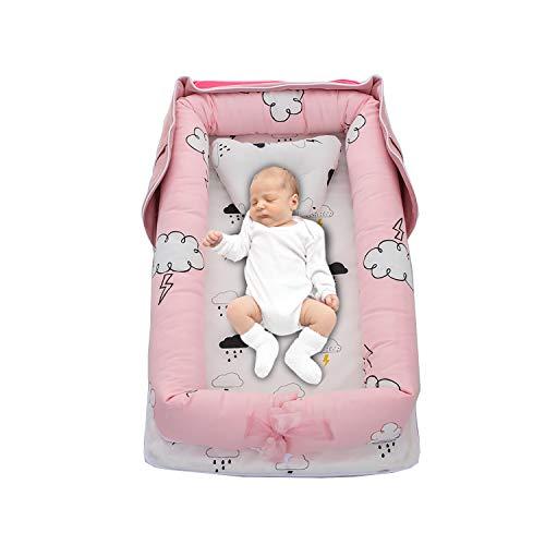PUDDINGT Bebe Recien Nacido - Cama Nido De Bebé Recién Nacido, Reductor De Cuna Nidos para Bebes Cojin Cuna De Viaje Portátil, Cuna para Bebé Recién Nacido para 0 A 24 Meses