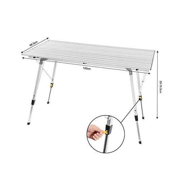 WOLTU CPT8132sb Tavolo da Campeggio Pieghevole Portatile per Picnic Giardino Altezza Regolabile in Alluminio 120x68,5x59/78,5 cm 6 spesavip