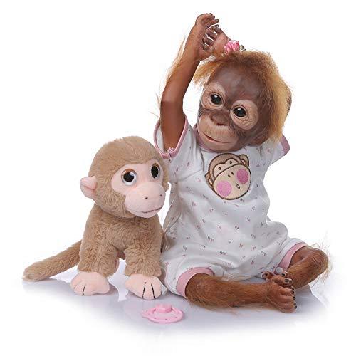 Zero Pam 52 Cm Muñecas Renacidas Mono Realista Bebé Mono De Silicona Suave Coleccionable Muñecas Orangután Renacidas para Niños Pequeños con Peluche Mono