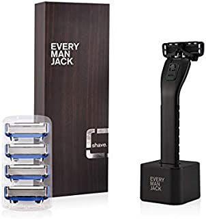 Every Man Jack Manual Razor Shipper, Black, includes handle, stand, 4 cartridges