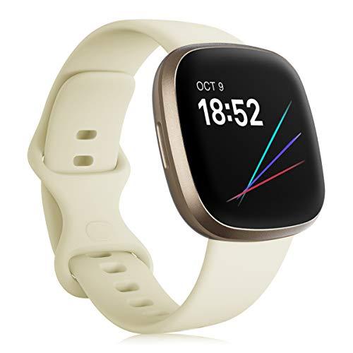 Onedream Correa Compatible para Fitbit Versa 3/ Sense Pulsera para Mujer Hombre, Silicona Reemplazo Deportivo Accesorios Banda Correas Compatible para Fitbit Sense/Versa 3 Blanco Lunar L