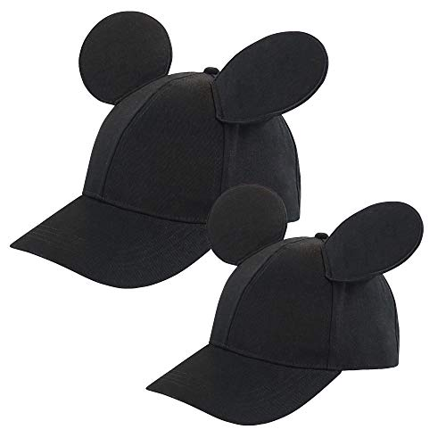 Disney Toddler Mickey Mouse Ears Hat, Set of 2 for Daddy and Me, Matching Adult and Little Boy Baseball Caps, Black, Age 2-4 Years