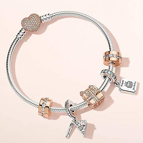 HJPAM 925 sterling zilver nieuwe rose gouden charme verjaardagskaart viering taart armband set mode temperament partij cadeau armband