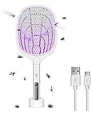 AICase Elektrische vliegenmepper, 2-in-1, 3000 V, oplaadbaar, voor huishouden, anti-vliegenwant, Zapper Killer Trap insectenracket