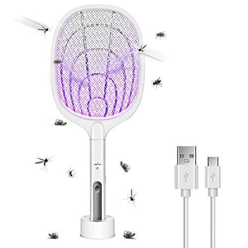 AICase Raqueta Matamoscas Eléctrico, Raqueta de Mosquito 3000V Mosquitos Eléctrico USB Recargable,...