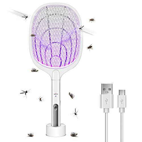 AICase Bug Zapper, 3000 voltios para interior y exterior, pala eléctrica para matamoscas recargable por USB, para hogar, dormitorio, cocina, oficina, patio, patio, segura al tacto con malla de seguridad de 3 capas